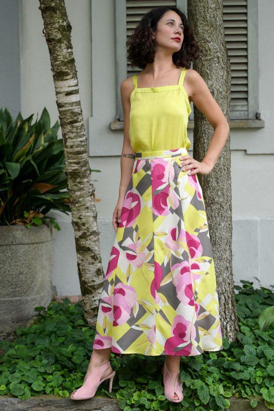 Flared silk skirt flowers print yellow pink