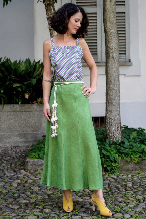 green linen long skirt