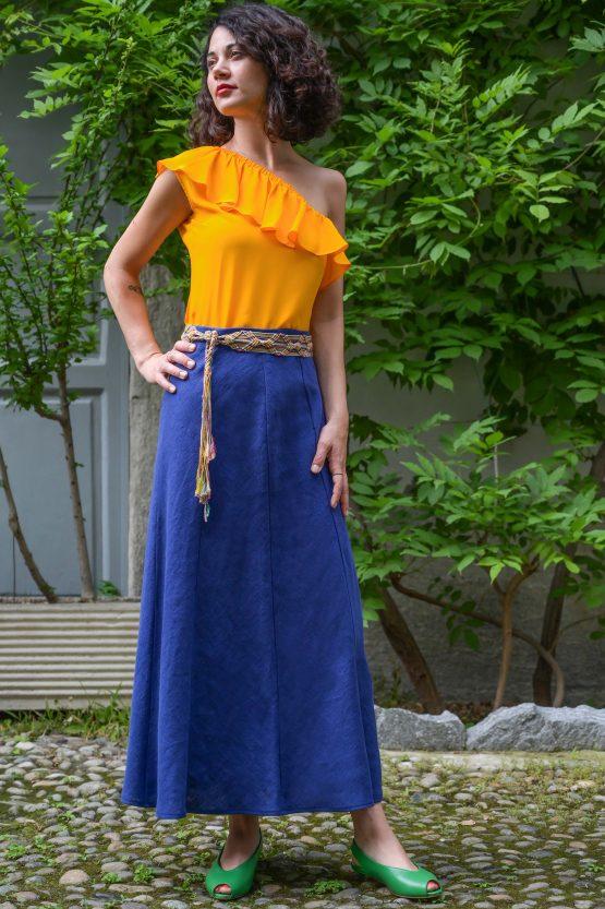 linen blue flared skirt gonna lino