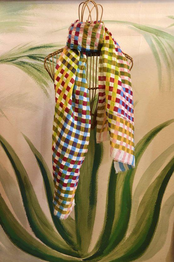 check scarf linen cotton multicolor