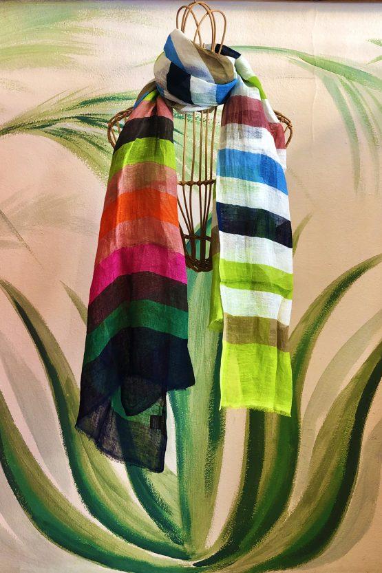 striped multicolor linen scarf epice