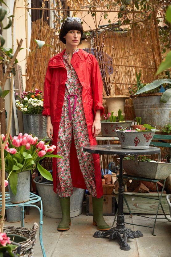 red lightweight raincoat