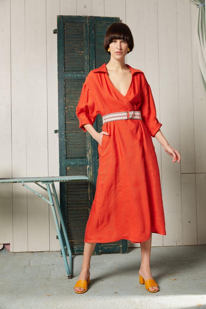 orange wrap dress