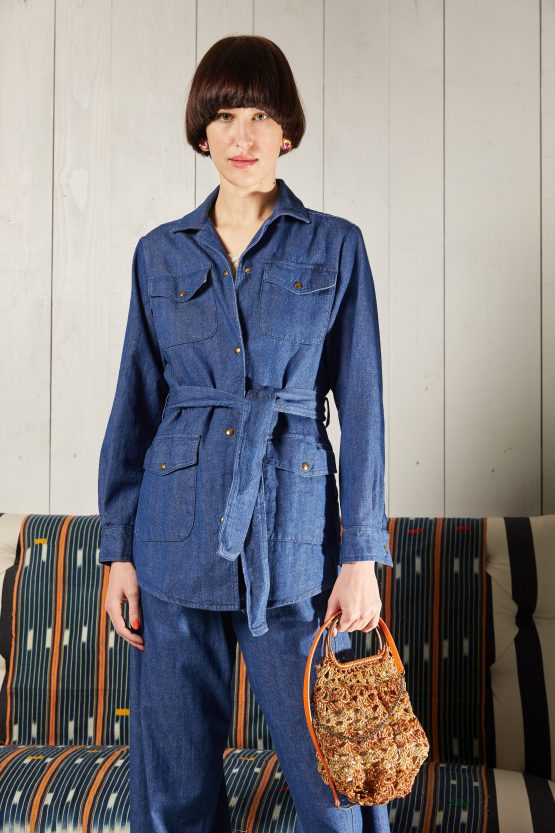 giacca jeans blu sahariana carla saibene