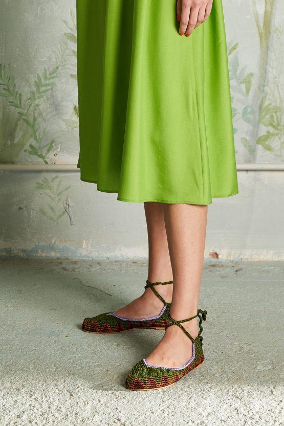 flat green crochet