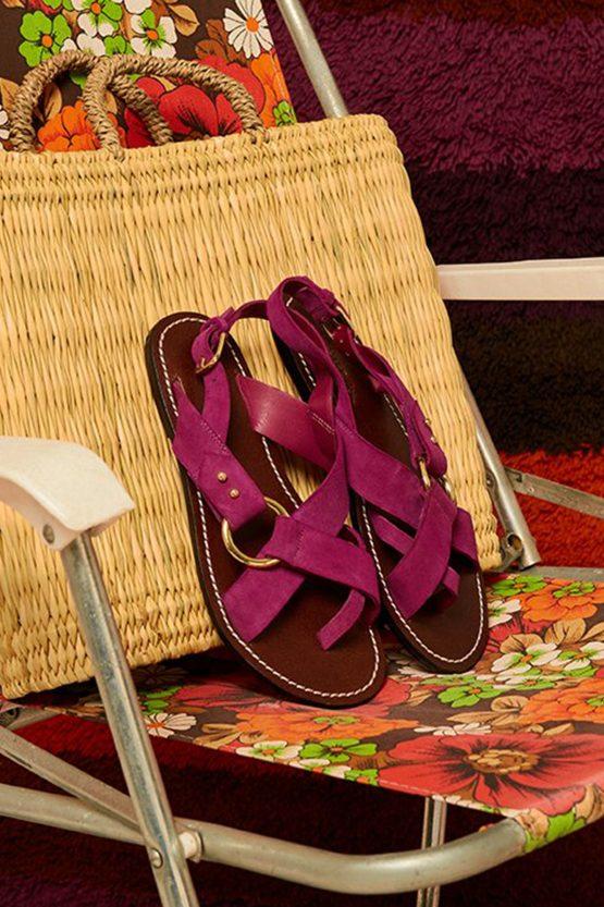purple flat sandals
