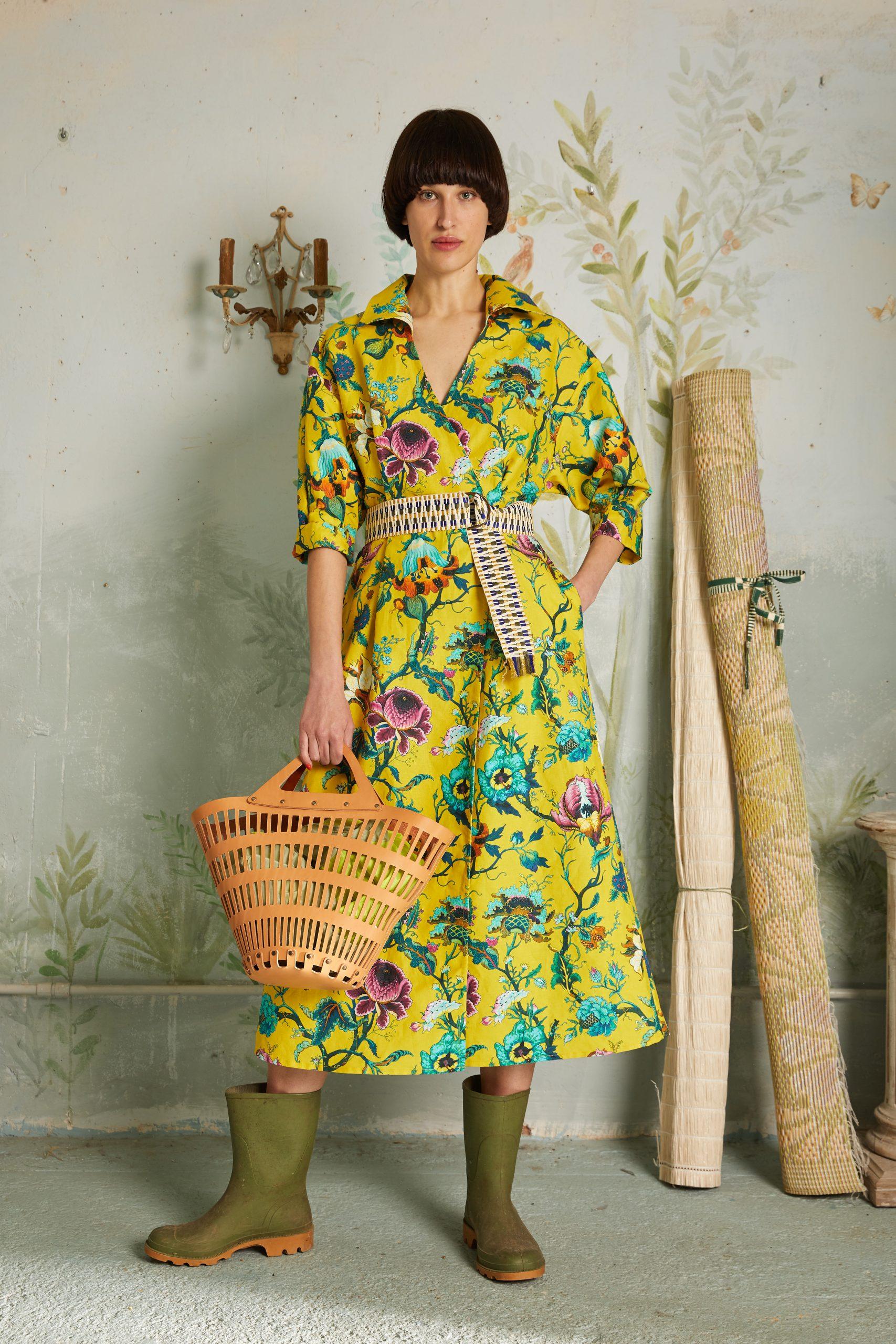 wrap dress yellow flowers print