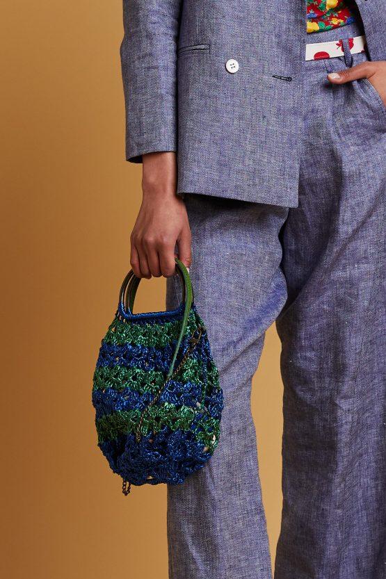 green blue rafia bag