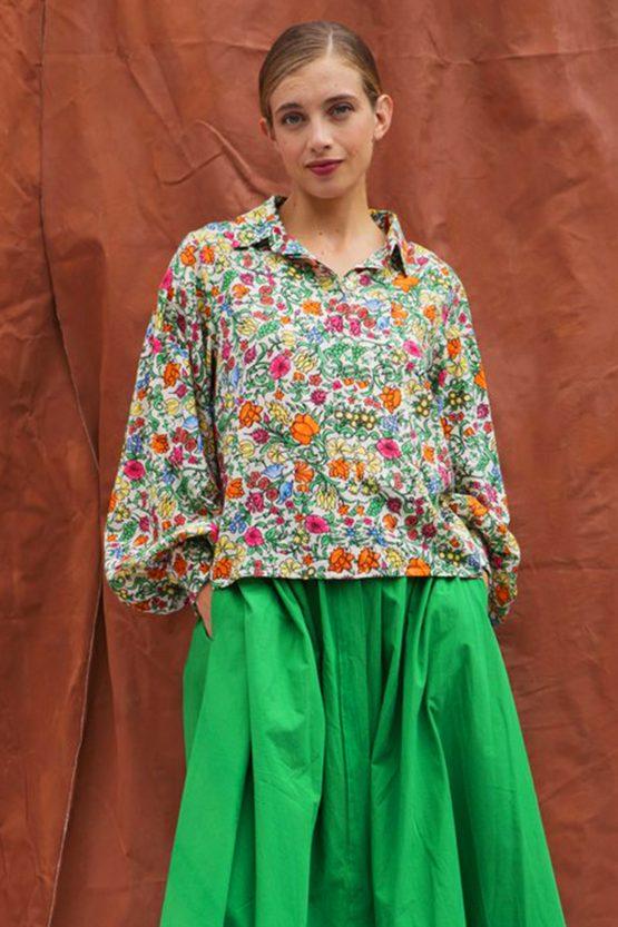 camicia maniche ampie stampa fiori cotone